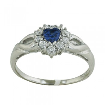 STERLING SILVER RING HEART SHAPE SAPPHIRE GLASS W/CL CUBIC ZIRCONIA AROUND