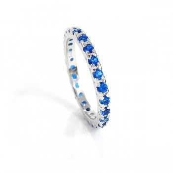 Sterling Silver Ring Band Sapphire (Blue Spinel) Pave