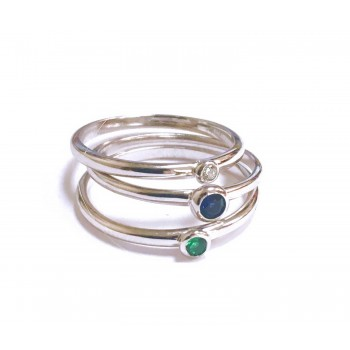 Sterling Silver Ring 3Pc Stackable Blue Topaz Glass, Nano Gree