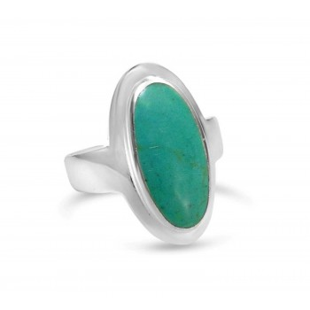 Sterling Silver Ring 7X17Mm Reconstituent Turquoise Elongated