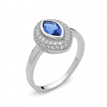 Sterling Silver Ring Marquise Sapphire Glass with Clear Cubic Zirconia Pave Ard