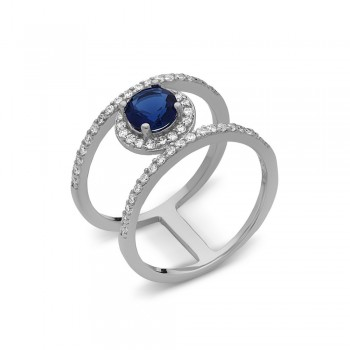 Sterling Silver Ring Rd Sapphire Glass Double Ring Half Clear Z