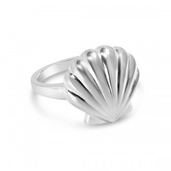 Sterling Silver Ring Plain Textured (Big) Seashell