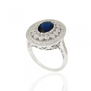 Sterling Silver Ring 10X8mm Sapphire Gl Oval with Clear Cubic Zirconia Detail Ard