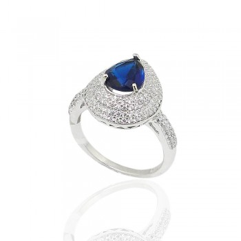 Sterling Silver Ring 9X7mm Sapphire Glass Tear Drop with Clear Cubic Zirconia Pave