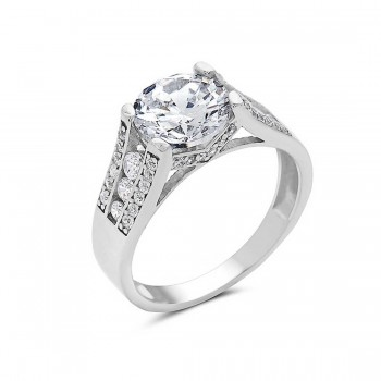 Sterling Silver Ring Solitare Clear Cubic Zirconia Round With Clear Cubic Zirconia Side