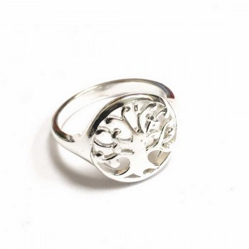 Sterling Silver Ring 15Mm Open Circle With Tree Of Life Inside