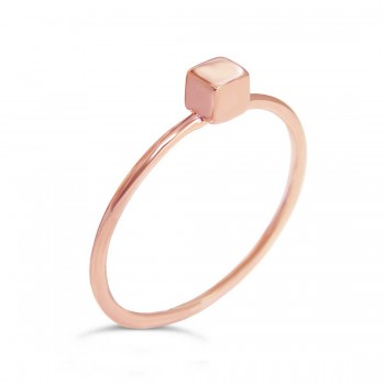 Sterling Silver Ring Plain Cube On Band-Rose Gold