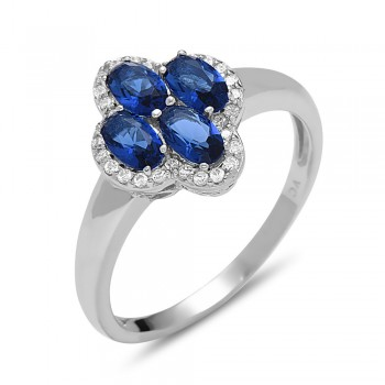 STERLING SILVER RING 4 OVAL SAPPHIRE GLASS CUBIC ZIRCONIA AROUND