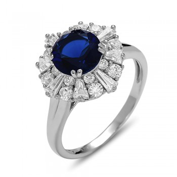 STERLING SILVER RING FLOWER BAGUETTE CUBIC ZIRCONIA CENTER SAPPHIRE GLASS