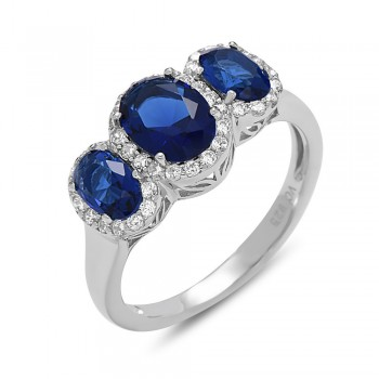 STERLING SILVER RING TRI STONE SAPPHIRE GLASS +CLEAR CUBIC ZIRCONIA