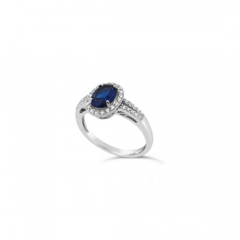 STERLING SILVER RING OVAL SAPPHIRE GLASS SMALL CUBIC ZIRCONIA AROUND