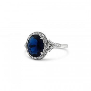 STERLING SILVER RING OVAL SAPPHIRE GLASS CUBIC ZIRCONIA AROUND FORK SHANK