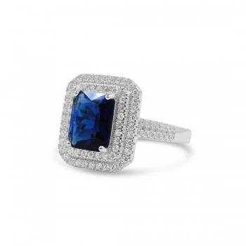 STERLING SILVER RING RECTANGULAR SAPPHIRE GLASS DOUBLE CUBIC ZIRCONIA LINES