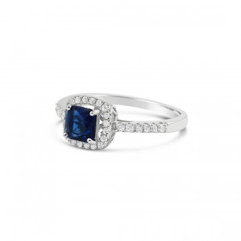 STERLING SILVER RING CUSHION SAPPHIRE GLASS+CUBIC ZIRCONIA AROUND