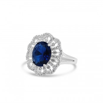 STERLING SILVER RING OVAL SAPPHIRE GLASS RADIATING CUBIC ZIRCONIA LINES