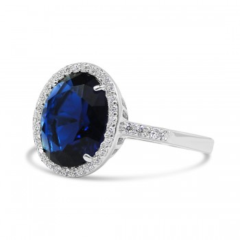 STERLING SILVER RING OVAL SAPPHIRE GLASS SIDE LINE CUBIC ZIRCONIA ON SHANK