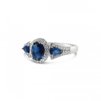 STERLING SILVER RING TRI STONES SAPPHIRE GLASS OVAL+TEAR DROP