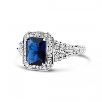 STERLING SILVER RING RECTANGULAR SAPPHIRE GLASS TRIANGLE SIDES