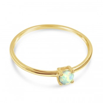 Sterling Silver Ring Blue Lab Created White Opal 4 Prong-Gold P