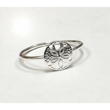 Sterling Silver Ring Tiny Sand Coin With Starfish -Ecoatedf