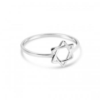 Sterling Silver Ring Tiny Jewish Star Line-Ecoated