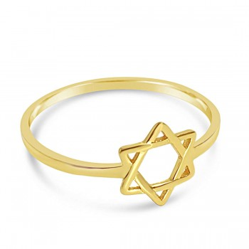 Sterling Silver Ring Tiny Jewish Star Line-Gold Plate