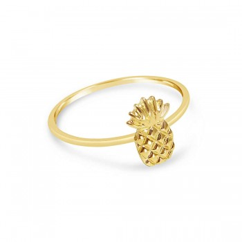 Sterling Silver Ring Tiny Pineapple Solid Gold Plate