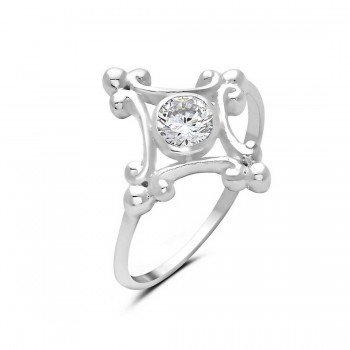 Sterling Silver Ring Diamond Shape Frame Clear Round Cubic Zirconia