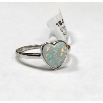 Sterling Silver Ring Heart In White Synthetic Opal