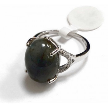 Sterling Silver Ring Oval Genuin Labradorite Clear Cubic Zirconia Y Shape S