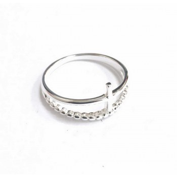 Sterling Silver Ring Sideway Cross With A Rope Line