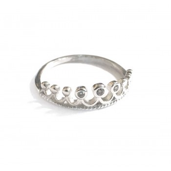 Sterling Silver Ring Tiara 9 Jewels Clear Cubic Zirconia