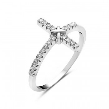 Sterling Silver Ring Sideway Mexican Cross X Clear Cubic Zirconia