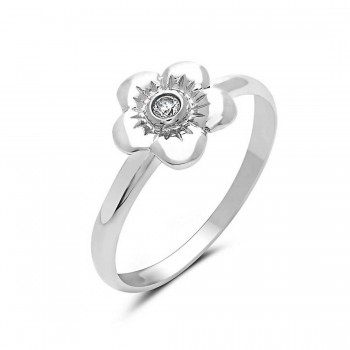 Sterling Silver Ring Flower Clear Cubic Zirconia At The Center