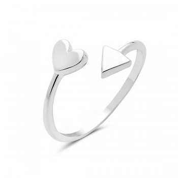 Sterling Silver Ring Bypass Heart And Triangle
