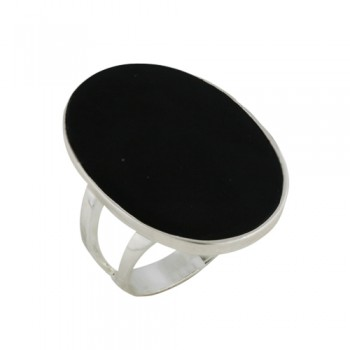Sterling Silver Ring 23X32mm Onyx Oval