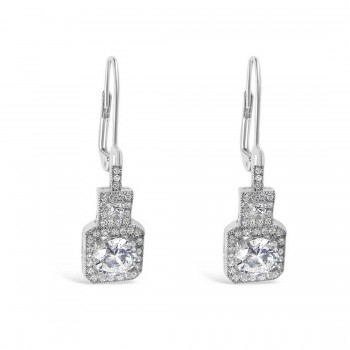 Brass Earring 6.5mm Round Micropave Clear Cubic Zirconia+Square Around