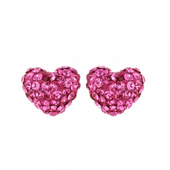 Brass Earring 8.8Mm/9.8Mm Puffy Heart Pink Crystal, Pink