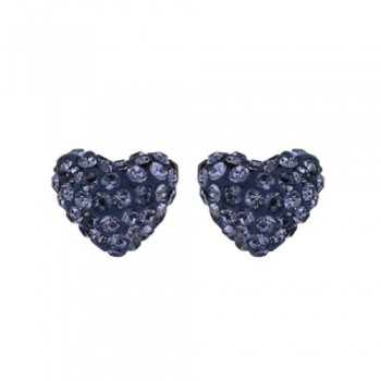 Brass Earring 8.8Mm/9.8Mm Puffy Heart Tanzanite Cy