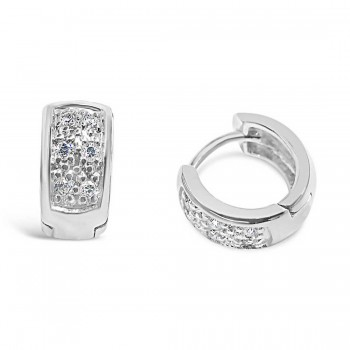 Brass Earring Huggie Front Square Clear Cubic Zirconia Pave