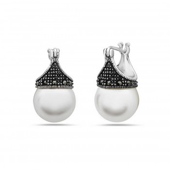 Marcasite Earring Latch White Pearl 12mm Marcasite Around