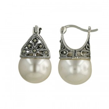 Marcasite Earring Latch White Pearl 12mm (Matching 6M-574P-4)