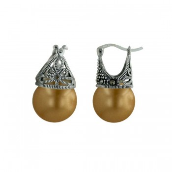 Marcasite Earring Latch Gold Pearl 12mm (Matching 6M-574P) -L