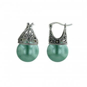 Marcasite Earring Latch Green Pearl 12mm (Matching 6M-574P) -