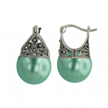 Marcasite Earring Latch Green Pearl 13mm (Matching 6M-574Grp-