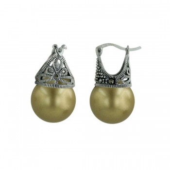 Marcasite Earring Latch Olive Pearl 12mm (Matching 6M-574P) -
