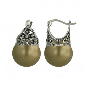 Marcasite Earring Latch Olove Pearl 13mm (Matching 6M-574Pov-