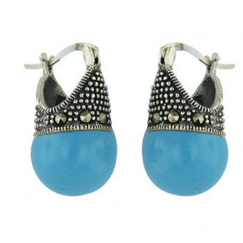 Marcasite Earring Latch Faux Turquoise Ball 12mm (2M-1032P) --Lighte