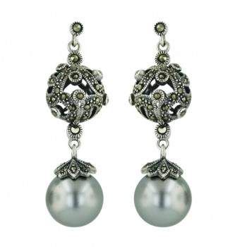 Marcasite Earring 12mm White Faux Pearl with Marcasite Open Ball Filig